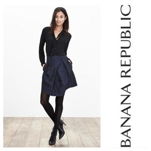 Banana Republic Navy Blue Camo Asymmetrical Skirt